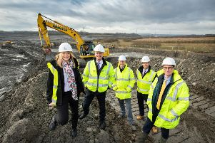 Work has started at Skelton Gate. (l-r); Alison Hoyle ' Homes England, Peter Garrett ' Keyland Developments, Stephen Bromley ' Hall Construction Services Limited, Neil Milligan ' Homes England, James Pitt ' Evans Property Group.