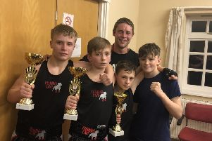 Training Cave boxers  Brandon Brearley, Jack Kaye and Iyran Walker. Supported by coach Jack Sunderland and team mate Olly Sugden.
