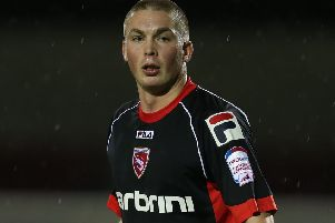 Richard Brodie in action for Morecambe in League Two.