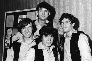 The Monkees. 1967. From left, Peter Tork, Michael Nesmith (back), Davy Jones (fore), and Mickey Dolenz. (Photo by NBC Television/Courtesy of Getty Images)
