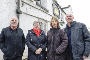 The Old Bells at Campsall'Mike Morgan chair parish council, Brenda McLaughlin , Sue walker , Eric Lowry outside the empty pub