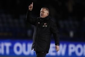 Manager Chris Wilder salutes the Sheffield United fans after Monday's Steel City derby with Sheffield Wednesday, whose manager Steve Bruce he has pipped to the manager of the month award (Picture: Simon Bellis/Sportimage).
