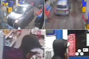 CCTV released after man threatened petrol station staff with a dumbbell as he robbed a service station in Wakefield. Photo credit: West Yorkshire Police.
