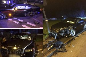 BMW and Rolls Royce crash in Wetherby, Leeds. Photo credit: West Yorkshire Police.