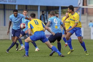 Karl Jones and Tom Greaves in action for Ossett United against AFC Mansfield. Picture: Scott Merrylees