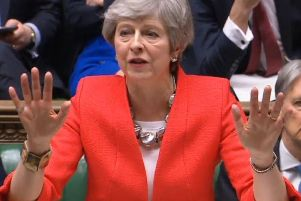 Theresa May in the Commons today as she urged MPs to back her deal.