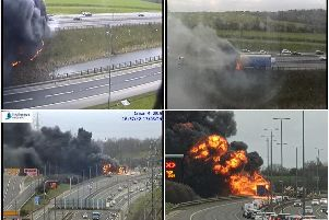 A dramatic lorry fire caused traffic delays around Leeds.