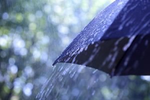 The weather is set to be dull today as forecasters predict heavy rain and strong winds throughout the day.