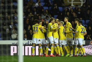 Leeds United players celebrate at Reading.