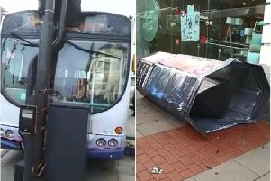 A bus in Leeds was involved in an accident which saw it crash into traffic lights and knock over an advertising pillar.