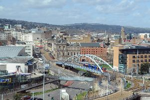 16th April  2013'Pictured a Sheffield city skyline showing the supertram line and city centre'Picture by Gerard Binks