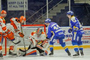Keep clear at all times... Jackson Whistle defends his net at Fife, last weekend