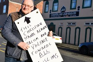 Ed Morrow outside Sunderland's Jami-Masjid mosque.