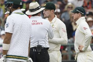 Cameron Bancroft chats to the umpire during the Newlands Test.