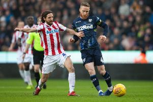 Leeds United midfielder Adam Forshaw in action against Stoke City.