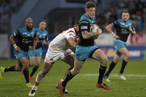 TOUGH TIME: Liam Sutcliffe tries to get a Rhinos attack going in Perpignan on Saturday. Picture: Pascal Rodriguez/SIPA.