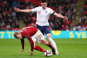 LONDON, ENGLAND - MARCH 22:  Declan Rice of England battles with Matej Vydra of the Czech Republic during the 2020 UEFA European Championships Group A qualifying match between England and Czech Republic at Wembley Stadium on March 22, 2019 in London, United Kingdom. (Photo by Catherine Ivill/Getty Images)