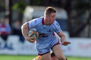 Callum Irvine was among the try-scorers for Rotherham Titans against Caldy. Picture Tony Johnson.