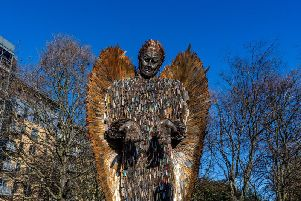 Knife Angel in The Rose Bowl, at Queens Gardens, Hull. Picture: James Hardisty.