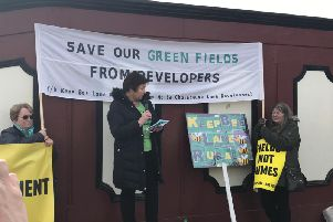 Speakers at the protest against housing developments in Preston and rural Lancashire