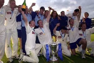 GRAND DAY OUT: Yorkshire's players celebrates after beating Somerset in the final of the 2002 Cheltenham & Gloucester Trophy