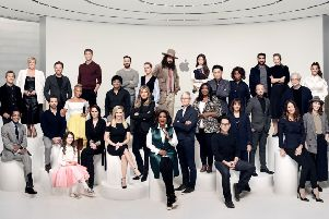 Reese Witherspoon, Oprah Winfrey, Jennifer Aniston and others with Apple's Tim Cook at the launch of its TV service.