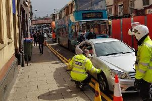 The Mercedes was illegally parked on Kirkgate