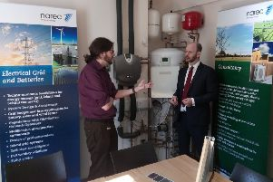 Labour's candidate for North of Tyne Mayor, Jamie Driscoll, right, speaks with Tom Bradley, director of Narec Distributed Energy, during his visit.