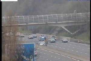 The crash scene on the M1 southbound (Picture: Highways England).
