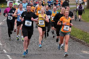 Runners taking on the Dronfield 10K.