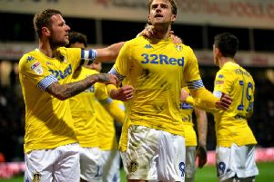 Leeds United and Patrick Bamford celebrate at Deepdale.