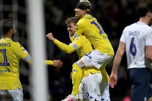 Leeds United celebrate at Preston.
