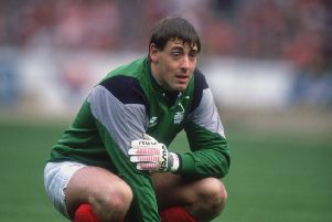 Nottingham Forest goalkeeper Steve Sutton watching his team take a penalty during the Littlewoods Cup Final at Wembley Stadium against Luton Town, 9th April 1989. Forest won the match 3-1 to lift the trophy. (Photo by Getty Images)