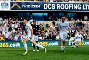 MEMORABLE: Winge Jack Harrison wheels away to celebrate his first goal for Leeds United and first goal in English football which sealed a last-gasp 1-1 draw at Millwall back in September