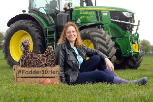 Sculptor Emma Stothard with the Fodder10Hen at the launch of the 161st Great Yorkshire Show. Picture by Tony Johnson.