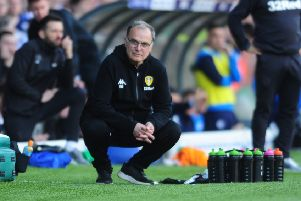 Leeds United head coach Marcelo Bielsa on the sidelines during the 2-1 defeat to Wigan Athletic.