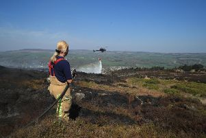 The firefighting operation at Ilkley Moor.