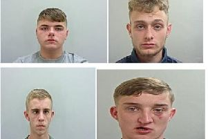 Jailed. Clockwise: Dylan Quayle, Philip Sharrock, Jason Booth and Joshua Penney
