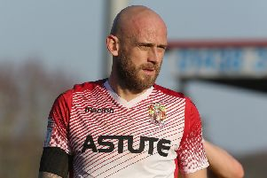 STEVENAGE, ENGLAND - FEBRUARY 23: Scott Cuthbert of Stevenage in action during the Sky Bet League Two match between Stevenage and Northampton Town at The Lamex Stadium on February 23, 2019 in Stevenage, United Kingdom. (Photo by Pete Norton/Getty Images)