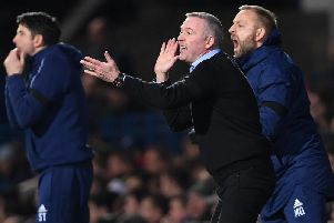 PLAYING FOR PRIDE: Ipswich Town boss Paul Lambert, centre, with his assistant Stuart Taylor, left.