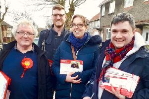 John Wilkinson, left, with members of the Hucknall Labour Party canvassing ahead of the local elections on May 2.