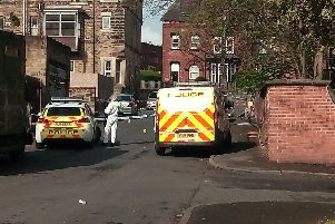 The police cordon in Chapeltown on Sunday. Photo: Don Mort