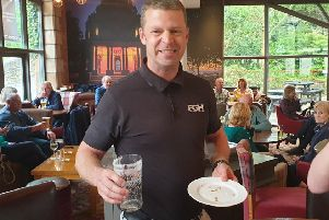 Pete Harrison, the new Lancaster Beer and Pie Festival pie eating contest record holder.