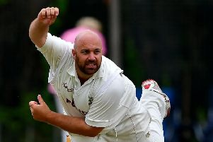 Chris Brice claimed 5-36 to help restrict New Farnley to 116-9 on the opening day of the new Bradford Premier League season but rain proved the winner with no matches finishing. Pic: Paul Butterfield