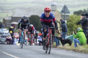 Tour de Yorkshire Stage 3: Bridlington to Scarborough'4 May 2019.'Rob Scott, Team Wiggins attack for the KOM on Cote de Hook House Farm.'Picture Bruce Rollinson