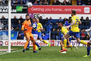 Kemar Roofe strikes the bar in the second half of Leeds United's 3-2 defeat to Ipswich Town.