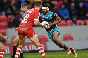 Leeds Rhinos' Kallum Watkins sets off on a run in the weekend defeat to Salford Red Devils. Picture: Jonathan Gawthorpe
