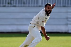 Former Yorkshire player Azeem Rafiq in action for Cleckheaton against Wrenthorpe last Saturday.
