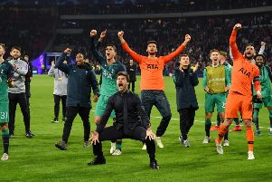 MAGIC MOMENT: Tottenham Hotspur head coach Mauricio Pochettino celebrates his team's stunning victory over Ajax in Amsterdam following the second leg of their Champions league semi-final, the Premier League were trailing 3-0 on aggregate at one point. Picture: Dan Mullan/Getty Images.