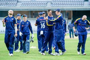 NOT THIS TIME: Yorkshire's players show their frustration after settling for a tie against Derbyshire in nthe Royal London Cup. Picture: Allan McKenzie/SWpix.com
